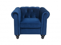 Fauteuil Chesterfield ALFRED en velours